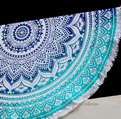 Blue n Green Rangoli Ombre Large Roundie - 1.5 Inch Border