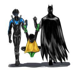 Damian, Nightwing and Batman... ehehe