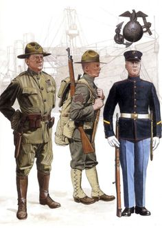 A Marine major, wearing a P1912 tropical uniform, as would be common stateside while preparing for deployment to France; A sergeant disembarks in France and has changed over to forest green M1917 uniform issued to the Corps; A private in the 1912 issue full dress uniform.