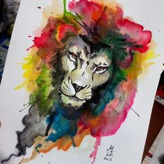 Severe lion with watercolor mane tattoo design