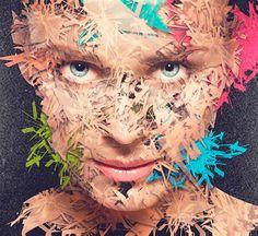 """Fractal Girl"" - Carlos Alberto {contemporary figurative artist female head texturized woman face portrait digital illustration #noveltechnique}"