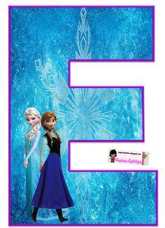 Frozen: Free Elsa and Ana Alphabet. Frozen: Bello Alfabeto Gratis de Elsa y Ana. Frozen Birthday Banner, Sofia The First Birthday Party, Frozen Themed Birthday Party, Disney Frozen Birthday, Birthday Party Decorations, Frozen Tea Party, Frozen Cake Topper, Frozen Movie, Elsa