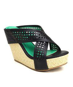 This Black Sallie Platform Sandal by Elegant Footwear is perfect! #zulilyfinds