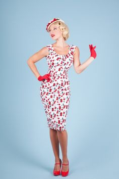 #topvintage Bettie Page Clothing - 50s Wild Cherry Berries white pencil dress
