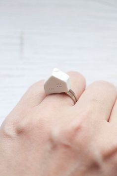 White Handmade Ceramic House Ring . Adjustable . Summer . ONLY 1 LEFT. $10.00, via Etsy.