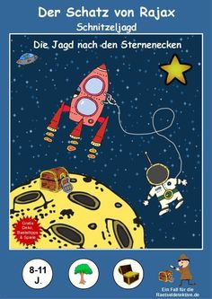 Fliegt zu den Rätselsternen und rettet Rajax! Steuert alle Rätselsterne an, löst die dort befindlichen Rätsel und sammelt alle Sternenecken ein. Doch denkt an euer Alienhandbuch, denn man weiß ja nie mit wem man es im Weltall so zu tun hat! Als Belohnung erwartet euch ein Schatz! Eine galaktische Schnitzeljagd zum Kindergeburtstag! Space Projects, Cool Art Projects, Space Crafts For Kids, Space Party, Escape Room, Dollar Stores, Preschool, Happy Birthday, Children