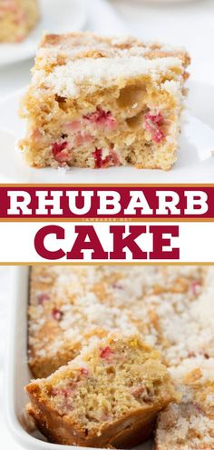 Rhubarb Cake is a soft, moist, and flavorful cake full of diced rhubarb and topped with granulated sugar that is simple to make and a dessert everyone will love! Save this easy to make sweet treat!