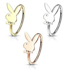 Nose Ring L-shape 14Kt Solid  Gold with Play Boy Bunny Design 20ga