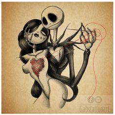 Jack e Sally Tattoo design by gabstattooart