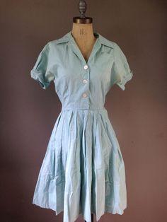Vintage 40s 50s Sea Foam Green Rockabilly Shirt-waist Dress As Is  vtg XS