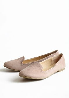 I'm never quite sure if I love this style or not...  Greatest Love Loafers In Beige 28.99 at shopruche.com. These classic loafers are finished in a taupe faux velvet with matching patent leatherette accents.All man made materials, Slightly padded footbed