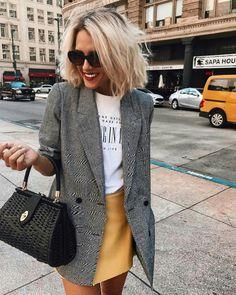 casual-style-obsession-grey-blazer-plus-bag-plus-tee-plus-skirt.jpg - casual-style-obsession-grey-blazer-plus-bag-plus-tee-plus-skirt.jpg Source by sibylleberghoff - Look Fashion, Autumn Fashion, Fashion Outfits, Womens Fashion, Fashion Tips, Fashion Trends, 50 Fashion, Fashion Styles, Blazer Fashion