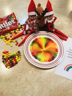 Elf on the shelf ideas Rainbow Magic..just add hot water in the center of the plate and watch it swirl. Jingle and Snowflake have the best ideas in the world!!