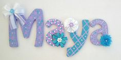 Custom Painted Wood Letters - You choose font and size - Embellishments included - Nursery Letters - Hanging Letters www.Etsy.com/shop/BrittaStJohn
