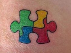 What does puzzle piece tattoo mean? We have puzzle piece tattoo ideas, designs, symbolism and we explain the meaning behind the tattoo. Autism Awareness Tattoo, Autism Tattoos, Mini Tattoos, Body Art Tattoos, New Tattoos, Tatoos, White Tattoos, Family Tattoos, Sister Tattoos