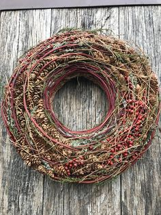 Advent Wreath - Holiday Wreath - Natural Winter wreath - Winter Wreath -Christmas Wreath Immediately available! This wreath is made up of many different dried leaves, moss and other natural materials Wedding Table Deco, Finger Knitting Projects, Knitting Tutorials, Holiday Wreaths, Holiday Decor, Advent Wreath, Fall Decor, Flower Arrangements, Crochet Granny