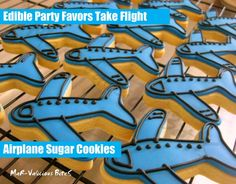 Airplane Sugar Cookies perfect for birthday party favor or dessert table