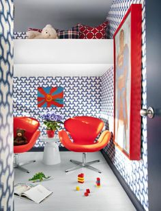 Inspired by Superheroes | Boys' multipurpose activity and sleeping space #bedroom #red; by Brian Patrick Flynn, Decor Demon