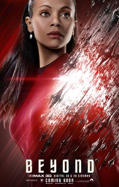 Paramount Pictures has released three more Star Trek Beyond character posters featuring Simon Pegg as Scotty, John Cho as Sulu, and Zoe Saldana as Uhura. Star Trek 2009, New Star Trek, Zoe Saldana Star Trek, John Cho, Simon Pegg, Star Trek Into Darkness, Star Trek Characters, Star Trek Movies, Science Fiction