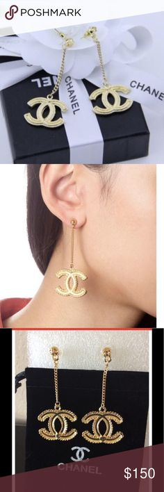 Double C earrings with stamp on back. Last pair! Chanel dangle earrings Jewelry Earrings
