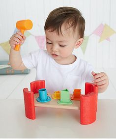 With four shapes to hammer, this beautiful wooden toy features cushioned rubber edging making playtime safe and fun.
