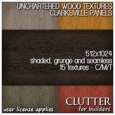 Unchartered Wood Clarksville Panels. These wood textures come in five color variations, in seamless, shaded and grunge versions. Size 512x1024 (2:1 ratio), they work will with most plane-stitched sculpts and multi-face mesh models as well as native prims. Available at Clutter for Builders in Second Life. User license applies.