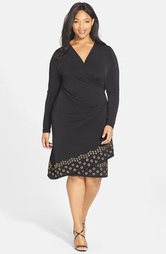 Free shipping and returns on MICHAEL Michael Kors Grommet Trim Faux Wrap  Dress (Plus Size 3ed14dcd160e