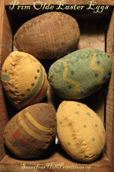 These super prim Easter eggs are stitched from old grainsack material, and X stitched along each of the seams. They are very darkly aged pai...