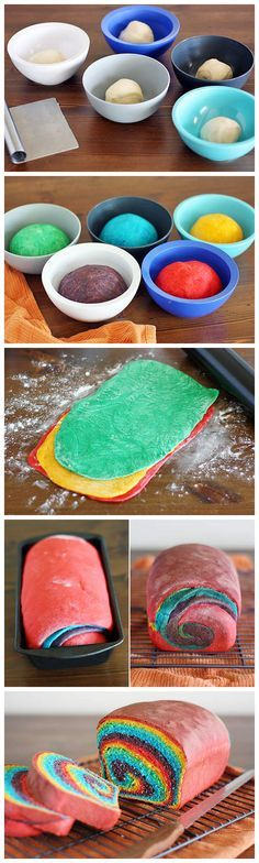 Rainbow Swirl Bread... Cute but I'd definitely need to use natural food colouring...