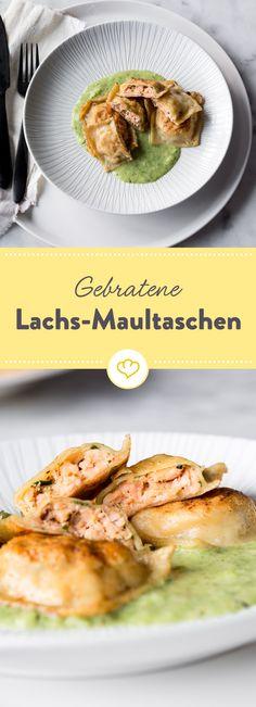 Hausmannskost oder Haute cuisine? Statt klassischer Fleischfüllung verstecken diese gebratenen Maultaschen eine feine, würzige Lachsfüllung.