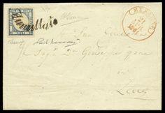 """lotto 215 - Regno di Napoli - lettera da Mesagne a Lecce del 21.4.1861 con Province Napoletane gr.2 azzurro n.9, con GM e lieve doppia effige - verosimilmente in segno di sfregio a Re Vitt. Emanuele II il f.llo venne applicato con effige capovolta - ann. a svolazzo n.34 con a lato cerchio borbonico """"Mesagne 21 Apr. 1861"""" in rosso"""