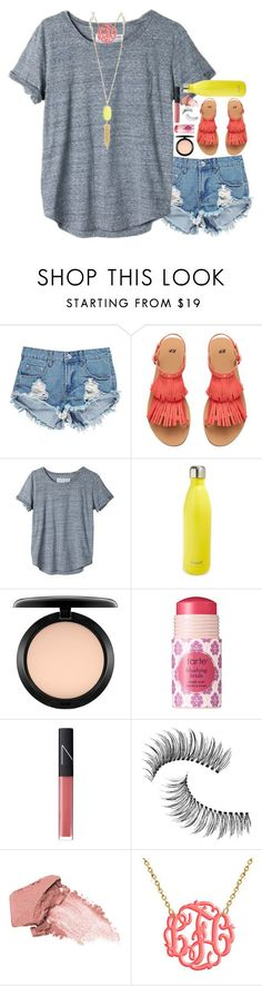 """""""be bright"""" by mehanahan ❤ liked on Polyvore featuring Boohoo, H&M, United by Blue, S'well, MAC Cosmetics, tarte, NARS Cosmetics, Trish McEvoy, Urban Decay and Kendra Scott"""