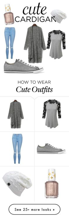 """""""Cool spring outfit"""" by paigebrad02 on Polyvore featuring WithChic, New Look, LE3NO, Converse, Essie, cutecardigan and springlayers"""