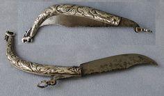 Ottoman Silver Pocket Knife 19th Century Couteau Pliant Argent Massif du XIXème