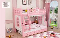 Dzieci różowy różowy meble drewniane łóżko piętrowe łóżko dla dzieci