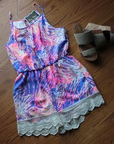 Racerback Neon Splash Purple and Pink Romper