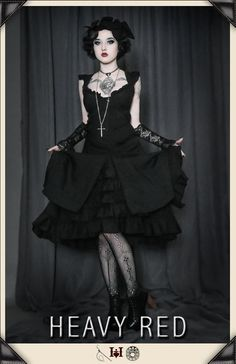 The Curious Notion Flutter Tea Dress. Gothic victorian style with a soft graceful touch.  http://www.heavyred.com/CURIOUS-NOTION-FLUTTER-DRESS-p/1094. Love the stockings!!