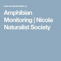 Amphibian Monitoring      Nicola Naturalist Society