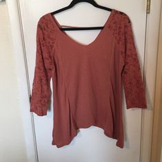 NWT Dusty rose flowing top with lace sleeves Adorable dusty rose color lace sleeved tee by Chloe and Katie Tilly's Tops Blouses