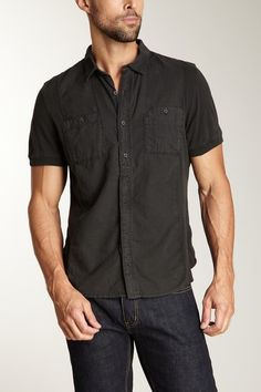 Converse Black Canvas Short Sleeve Double Pocket Mixed Shirt in pirate black