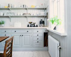 New Ideas for kitchen white grey blue cabinets Cabinet Door Styles, Kitchen Cabinet Styles, Cabinet Colors, Blue Kitchen Cabinets, White Cabinets, Window Seat Kitchen, New Kitchen, Kitchen Ideas, Kitchen Grey