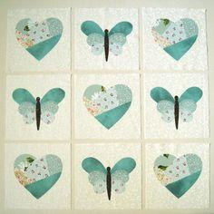Hearts, butterflies in blue large