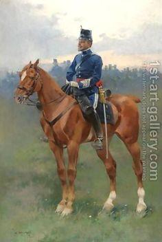 Jose Cusachs y Cusachs:Soldier on Horseback (Jinete de caballeria de Estado Mayor)