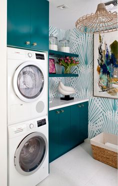 Teal modern laundry room cabinets with matching wallpaper // Midcentury design makes a splash at the Christopher Kennedy Compound Modernism Week Showhouse Laundry Room Remodel, Laundry Room Cabinets, Laundry Room Organization, Laundry Room Design, Laundry In Bathroom, Utility Cabinets, Laundry Closet, Laundry Drying, Teal Cabinets