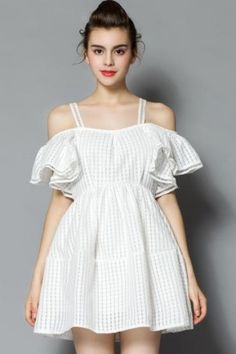LUCLUC Sweet Cut-out White Off-the-shoulder Skater Summer Sexy Skater Dress 028fc64a3