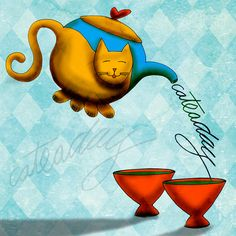 Whimsical Saturday musings from What my #Tea says to me series. Playing with a cat, a teapot and Saturday.....cheers :) Happy CatTEAday!