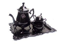 christine misak recycled tea set,  #gothic #tea party
