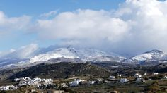 Alpine Naxos or the Aegean Rockies. Village of Galanado in foreground. photo by Ηλιασ Greek Islands, Mount Everest, Greece, Snow, Mountains, Day, Travel, Beautiful, Greek Isles