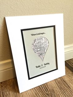 Dropped Pin Map Art First Anniversary or Wedding by HandmadeHQ