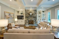 MBIA 2018 BRONZE Award for Speculative Transitional Home.  Builder: Laurence Cafritz Builders.  #familyroom #stonefireplace